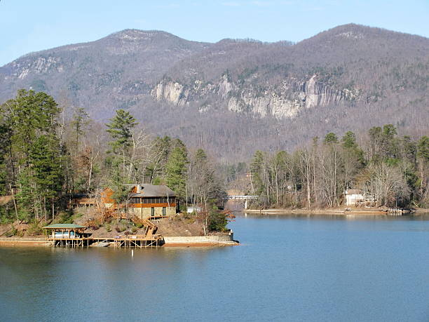 Lake Lure in Winter stock photo