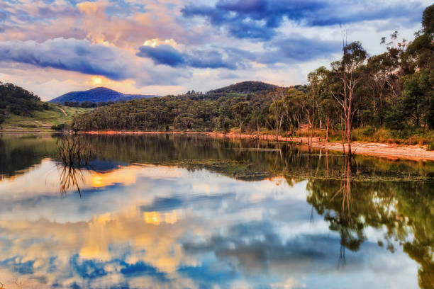BM Lake Lyell Fire sunset reflect