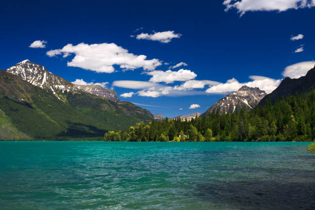 lake macdonald, glacier national park, montana - mcdonald lake stock pictures, royalty-free photos & images