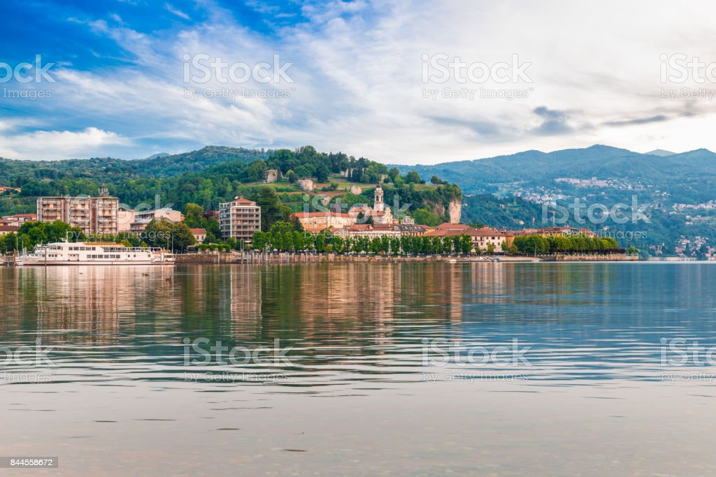 Lake Maggiore, Arona, Italy. Tourist town on Lake Maggiore, Piedmont shore stock photo