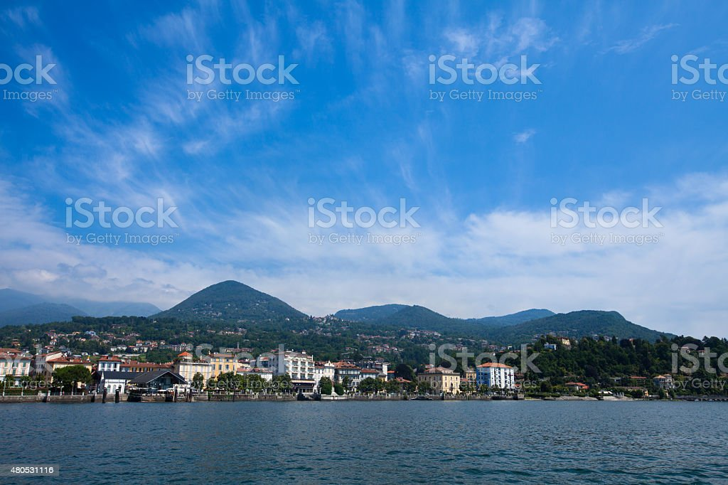 Lake Maggiore panorama as seen from water stock photo