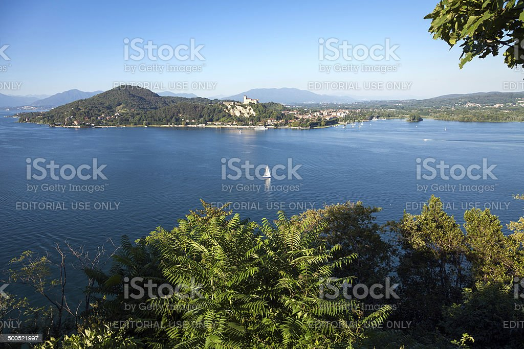 Lago Maggiore panorama with Rocca di Angera. Color image stock photo