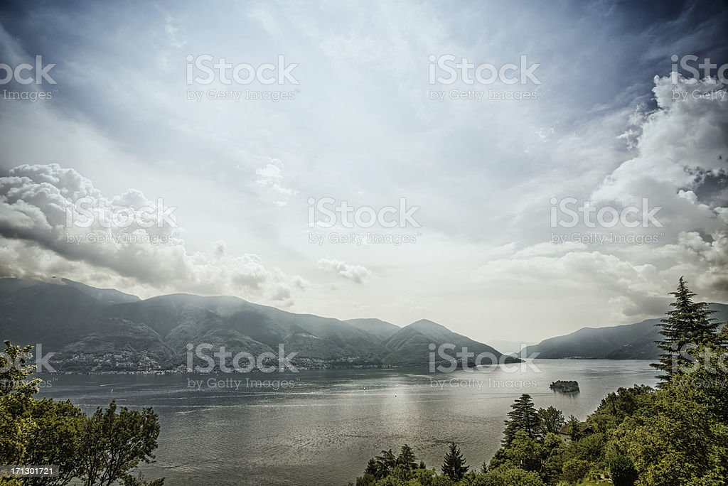 Lake Maggiore with island Brissago, Switzerland stock photo