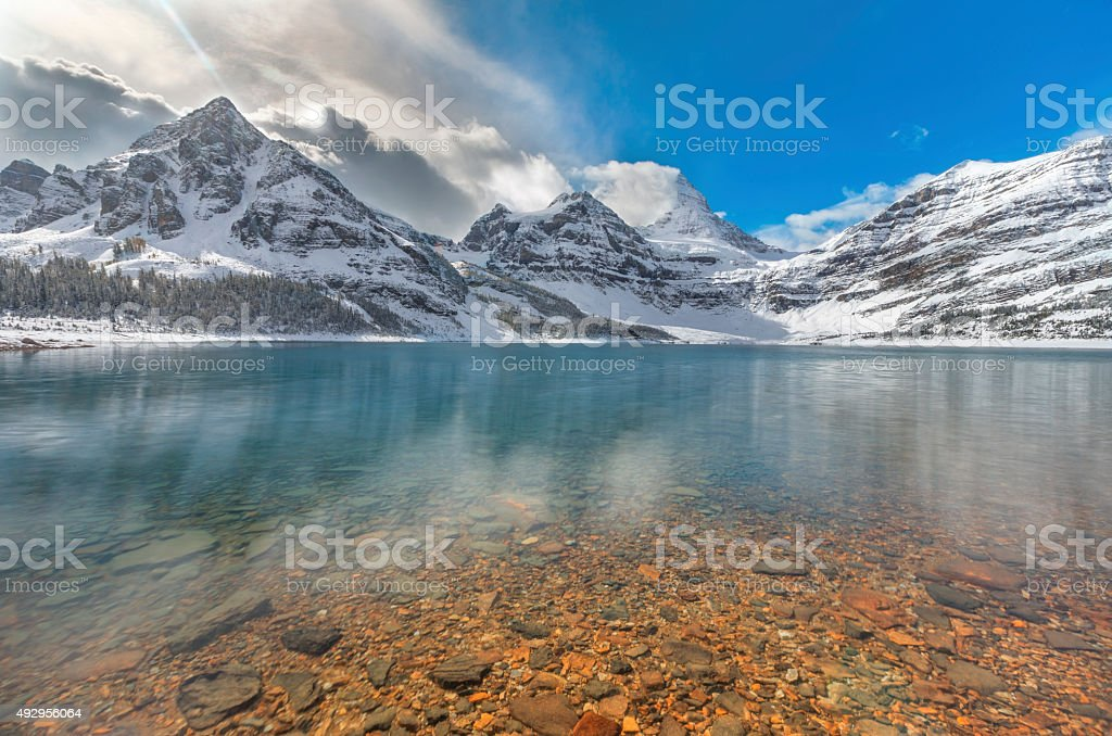 Lake Magog at Mount Assiniboine Provincial Park, Canada stock photo