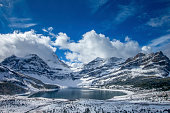 Mount Assiniboine , Lunette Peak, and Mount Magog on the back ground.