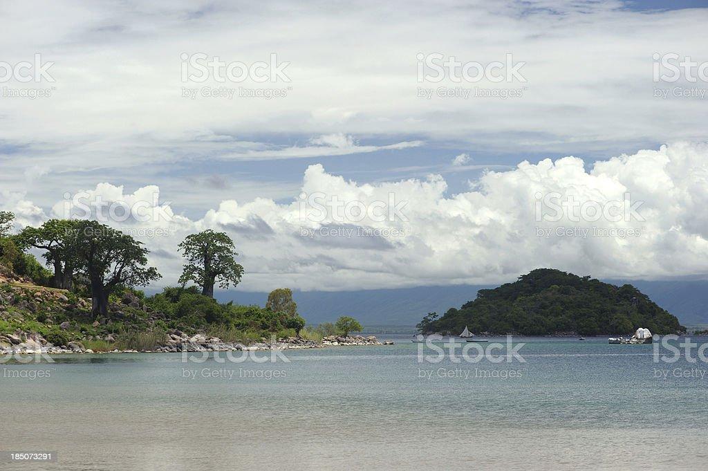 Lake Malawi and baobab trees stock photo