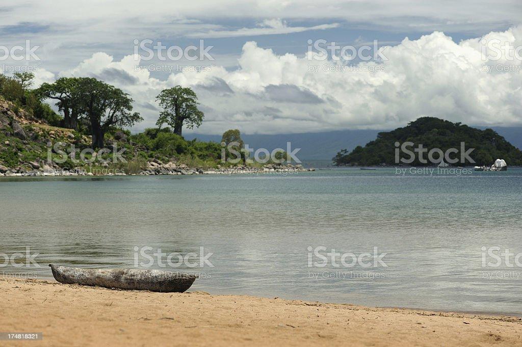 Lake Malawi beach and baobab trees stock photo