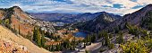 istock Lake Mary Marth Catherine panorama views from hiking trail to Sunset Peak on the Great Western Trail by Brighton Resort. Rocky Mountains, Wasatch Front, Utah. United States. 1285191419
