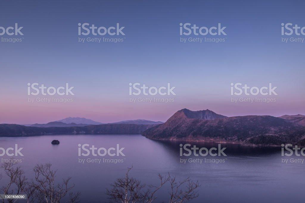夕暮れ時の摩周湖 ストックフォト