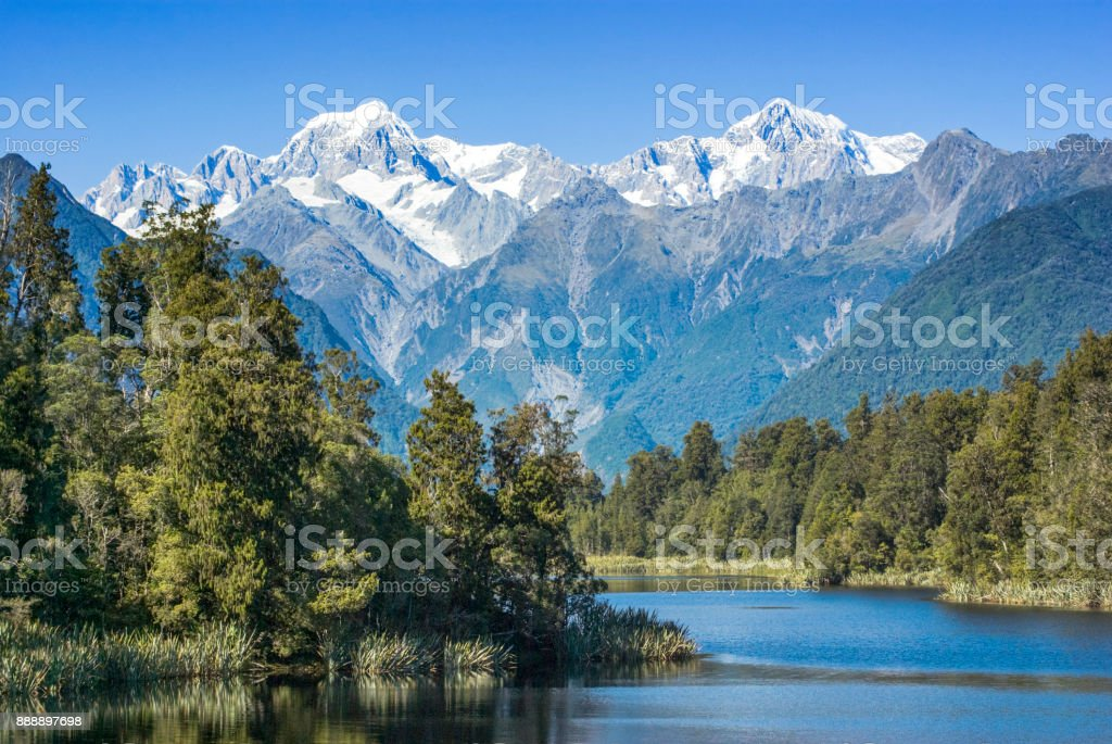 Lake Matheson and Mount Cook stock photo