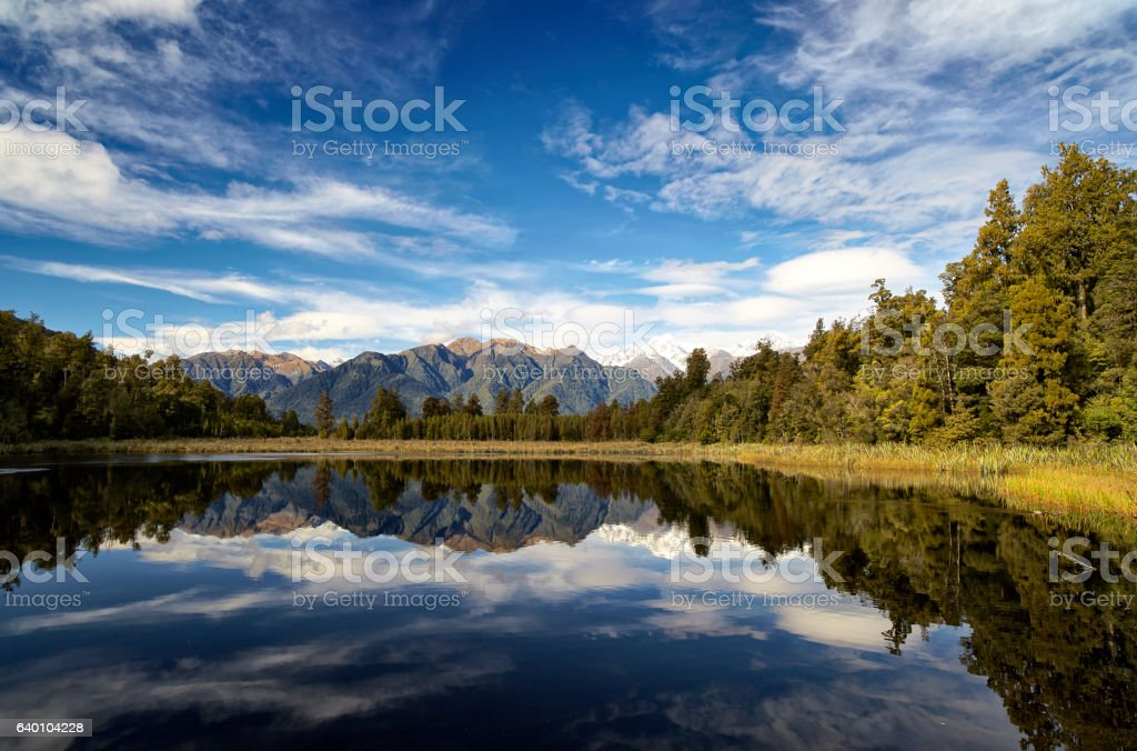 Lake Matheson And New Zealand's Southern Alps stock photo