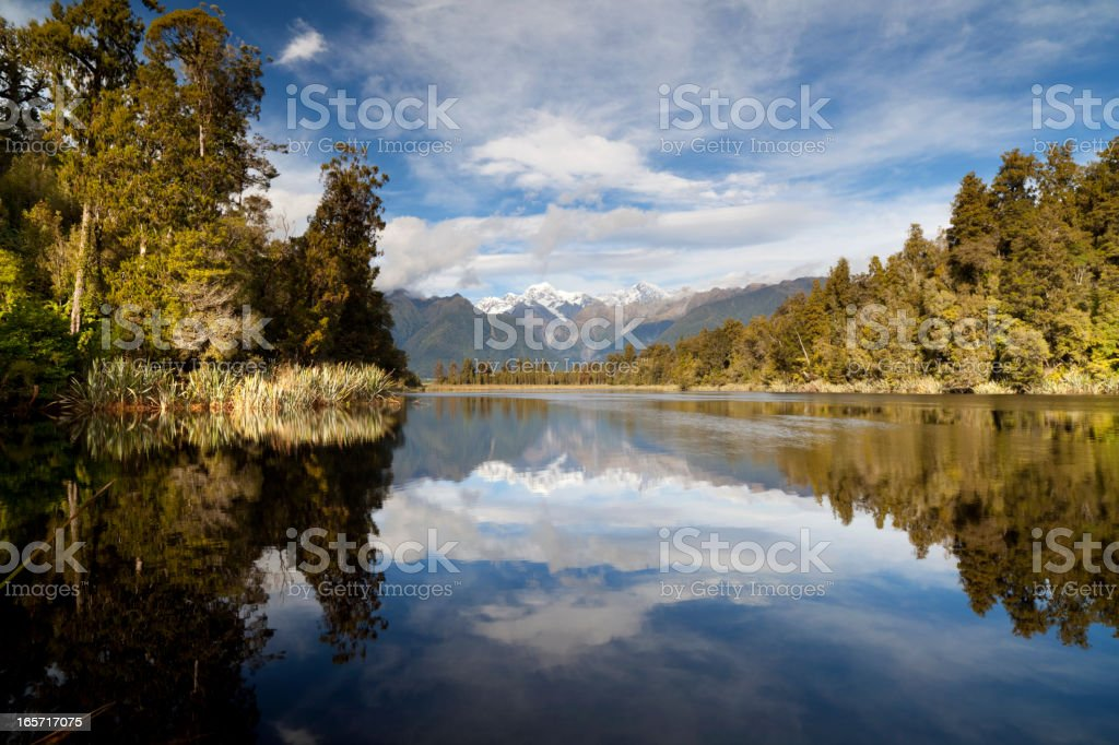Lake Matheson And The Southern Alps stock photo
