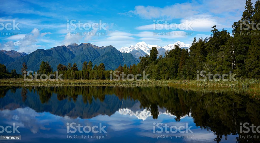 Lake Matheson In New Zealand stock photo