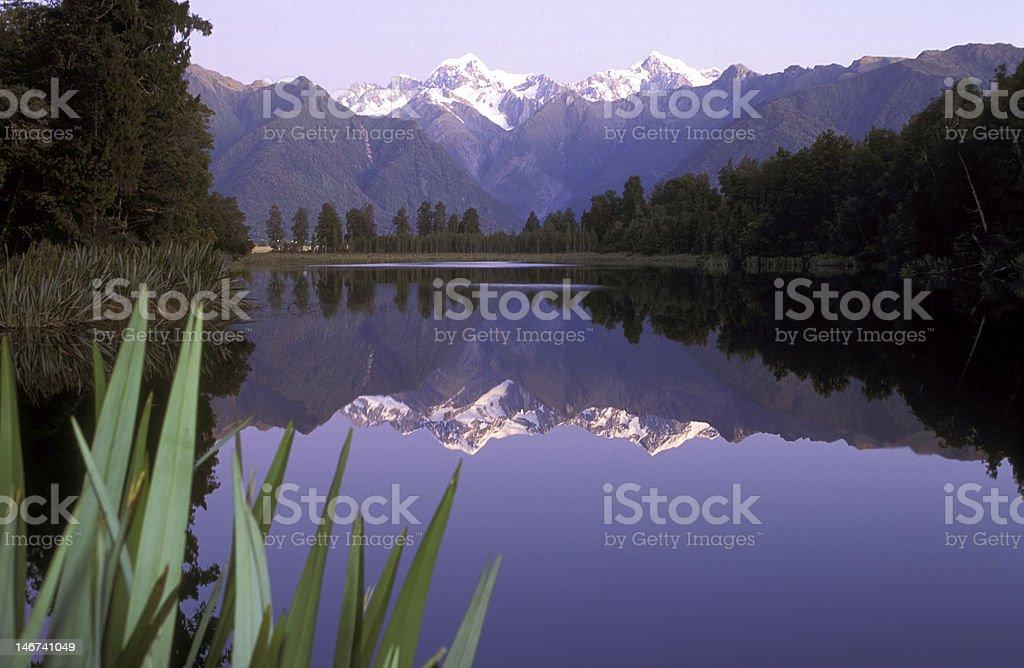 Lake Matheson Mountain Range Reflection, South Island New Zealand royalty-free stock photo