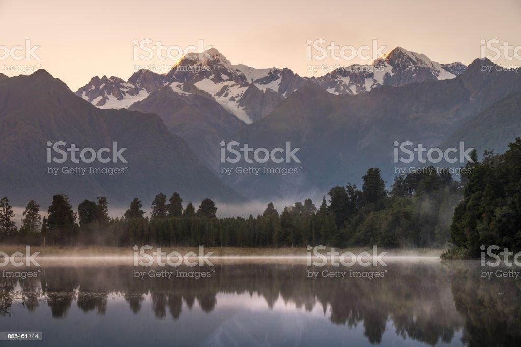 Lake Matheson, New Zealand stock photo