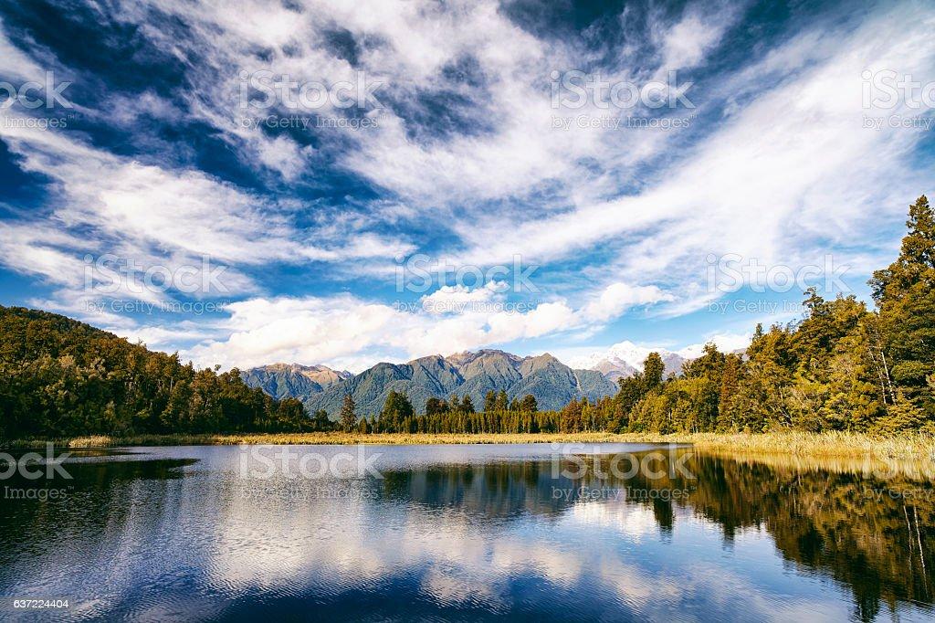 Lake Matheson On New Zealand's South Island stock photo