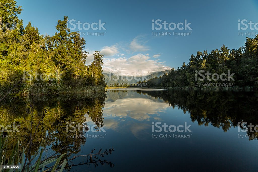 Lake Matheson reflecting the Mount Cook and southern Alps, NZ stock photo