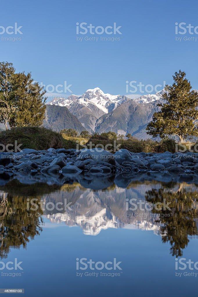 Lake Matheson Reflections Panorama, New Zealand stock photo