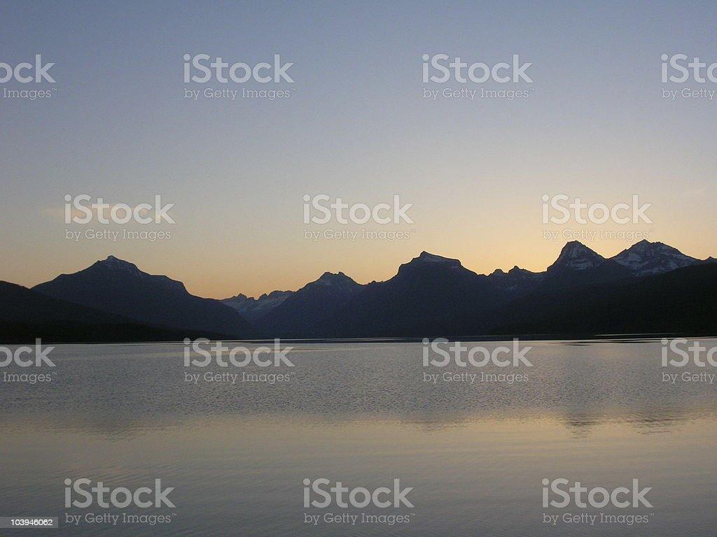 Lake McDonald at Sunrise Glacier Montana royalty-free stock photo