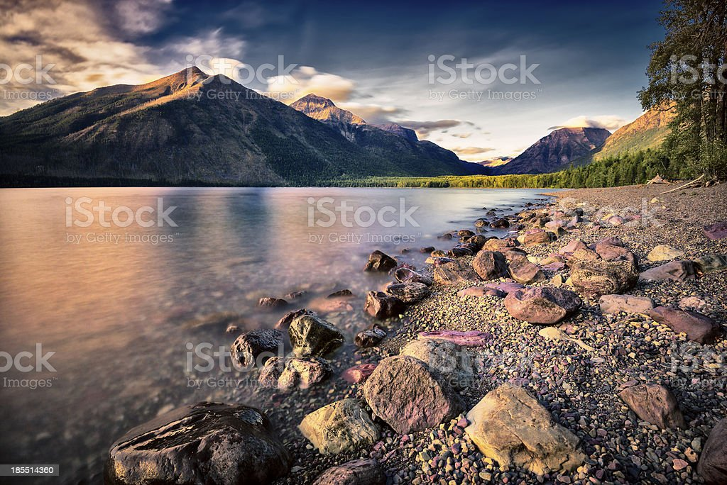 Lake McDonald Before Sunset royalty-free stock photo