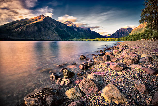 lake mcdonald before sunset - mcdonald lake stock pictures, royalty-free photos & images