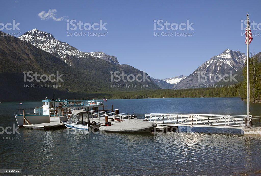 Lake McDonald Boats Glacier National Park royalty-free stock photo