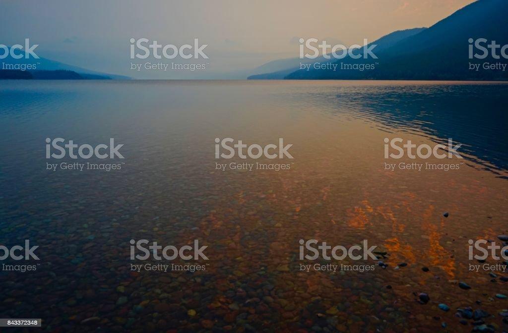 Lake McDonald Fire Water stock photo