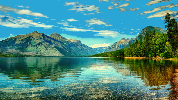 lake mcdonald, glacier national park, montana, usa - mcdonald lake stock pictures, royalty-free photos & images