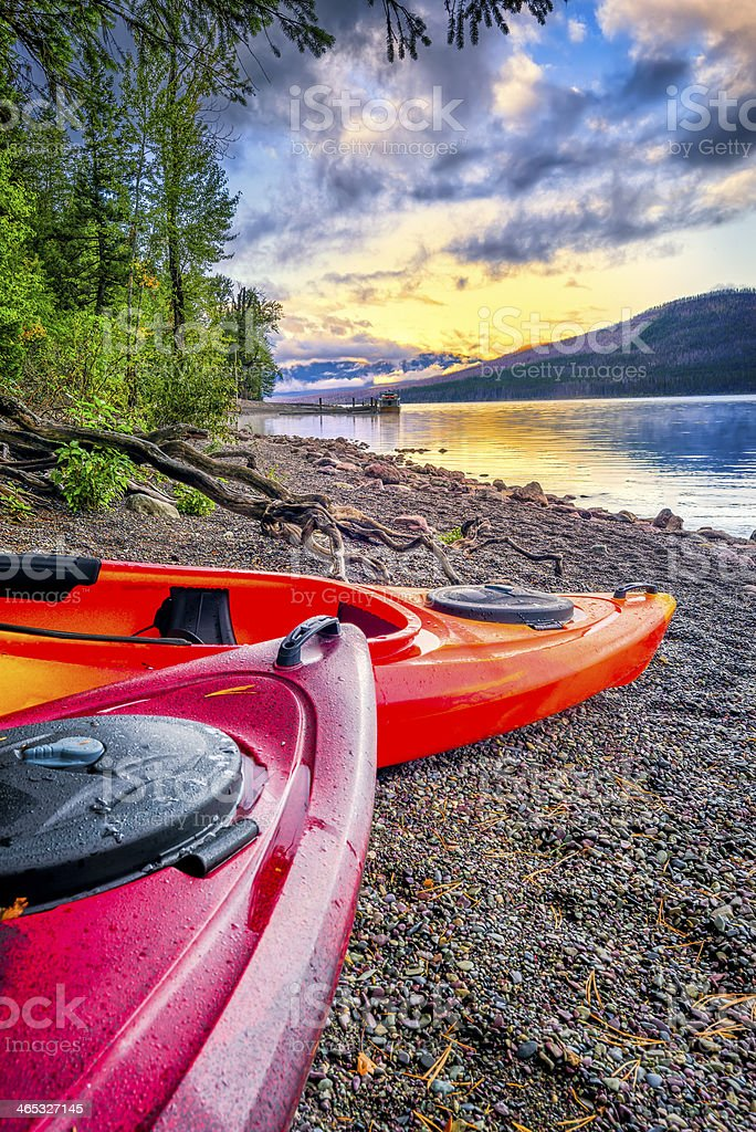 Lake McDonald on a Serene Late Afternoon stock photo
