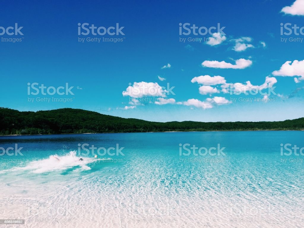 Lake McKenzie view stock photo