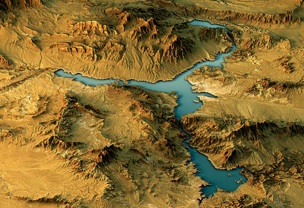 Lake Mead 3D Landscape View West-East Natural Color - Photo
