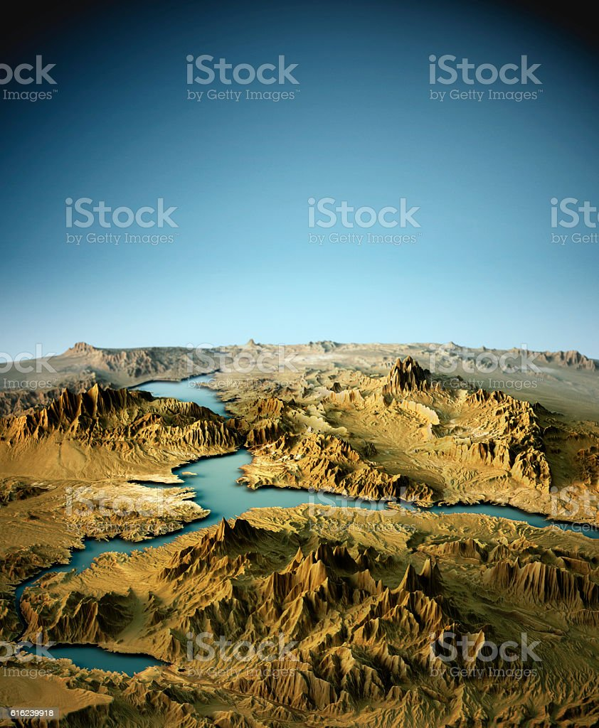 Lake Mead 3D View East-West Natural Color stock photo