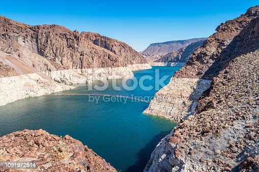 Stock photograph of Lake Mead and Black Canyon at the Hoover Dam between Nevada and Arizona USA on a sunny day.