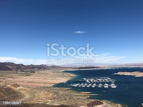 Lake Mead Nevada desert lake view from atop the surrounding mountains