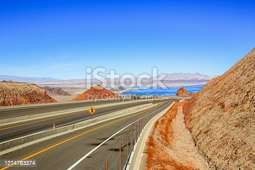 Lake Mead is visible in front of US Route 93 Boulder City, Nevada State U.S.A.