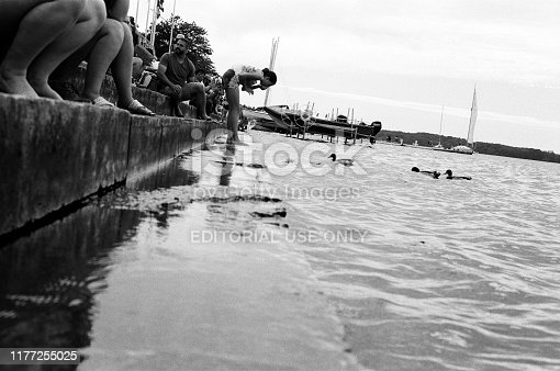 Madison, WI - July 8, 2019: Views of Lake Mendota from the University of Wisconsin-Madison Student Union shot on black and white film for vinatage look