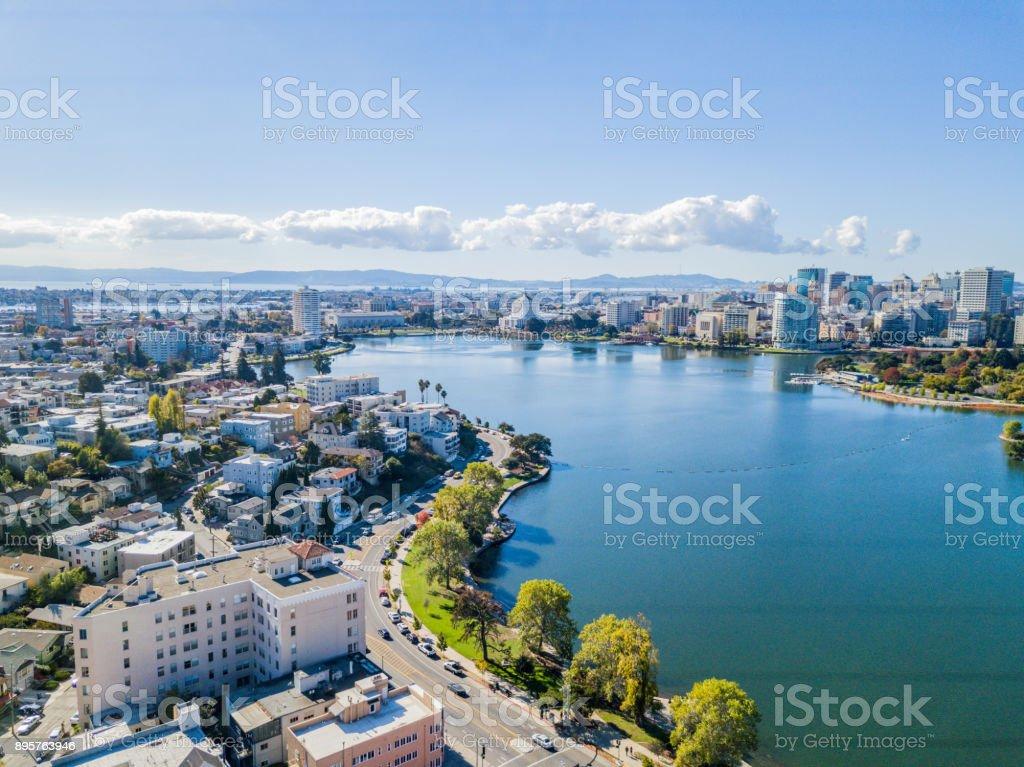 Vista aérea del lago Merritt - foto de stock
