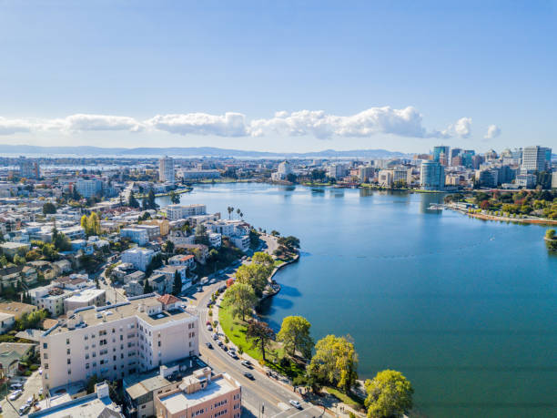 Lake Merritt Aerial View stock photo