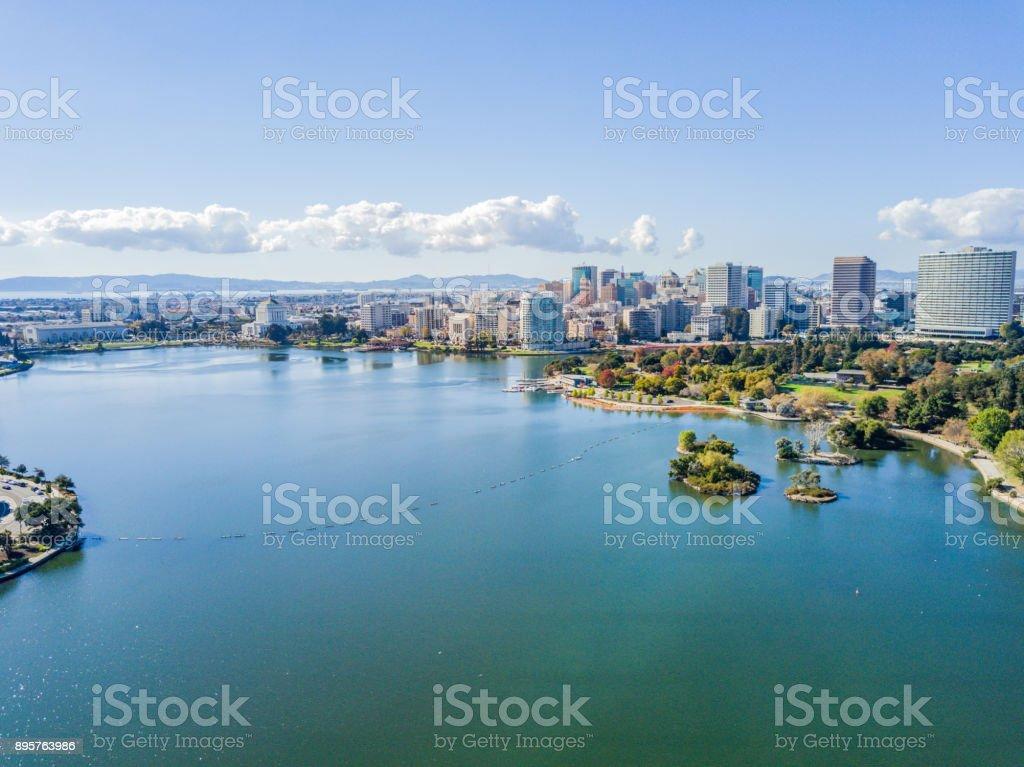 Lake Merritt Aerial View stock photo