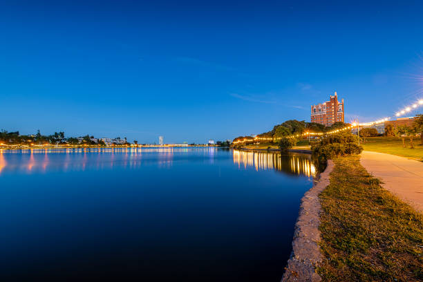 Lake Merritt at blue hour Just before sunrise, blue hour overtakes the city of Oakland and Lake Merritt. alameda california stock pictures, royalty-free photos & images