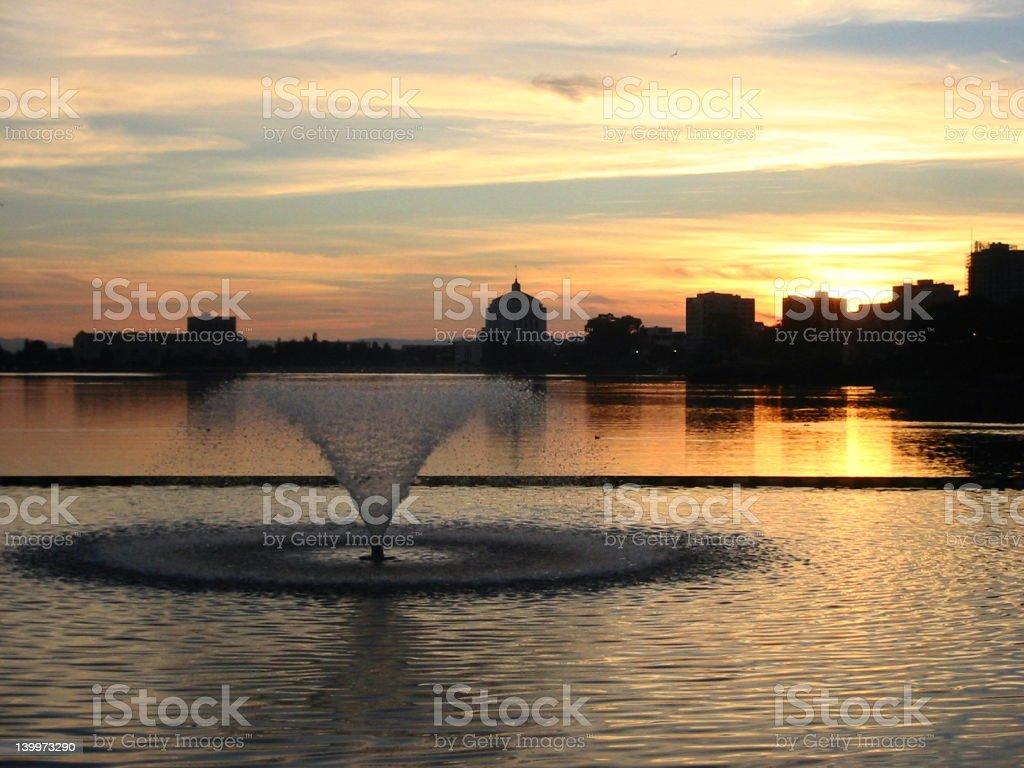 Lake Merritt sunset stock photo