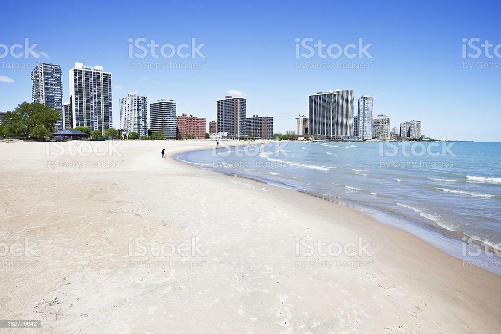 Lake Michigan Beach and Apartments royalty-free stock photo