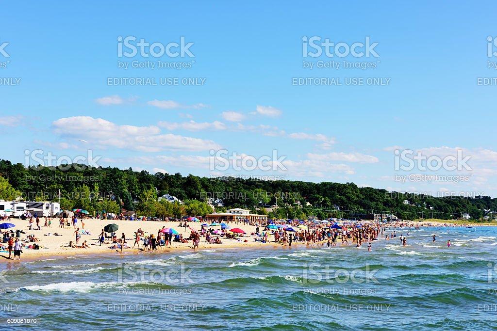 Lake Michigan beach in Grand Haven State Park stock photo
