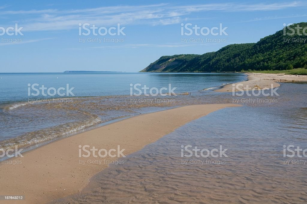 Lake Michigan Beachscape with Wooded Dunes stock photo