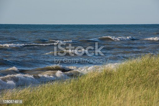 Great lakes coast with tall grass and waves