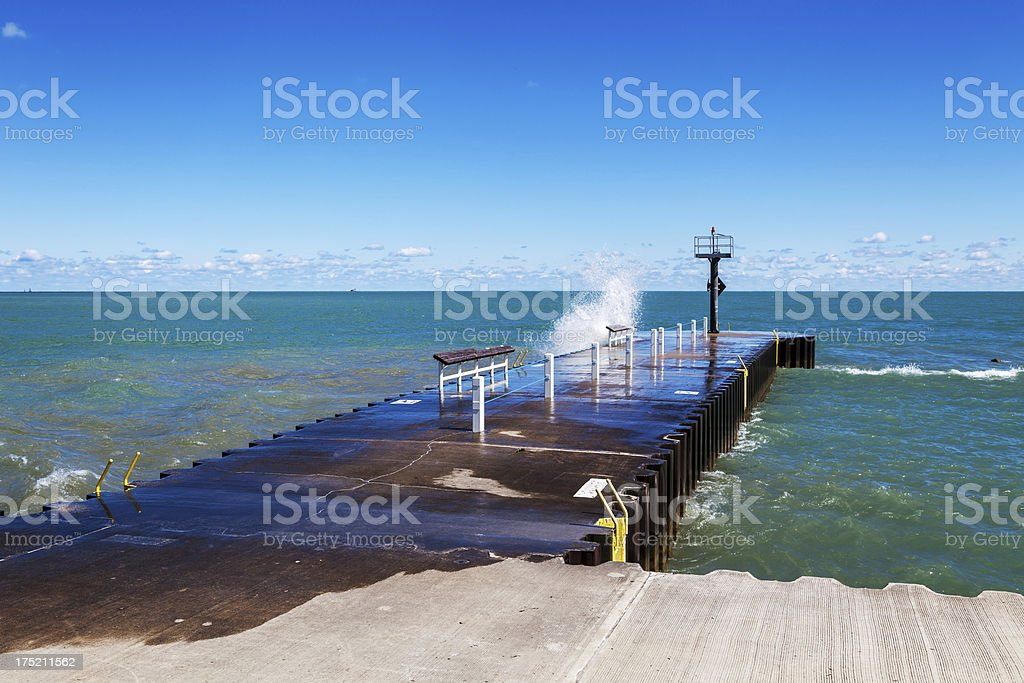 Lake Michigan fishing pier, Chicago royalty-free stock photo