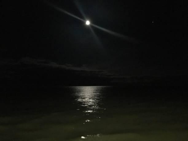 Lake Michigan Moonlight stock photo