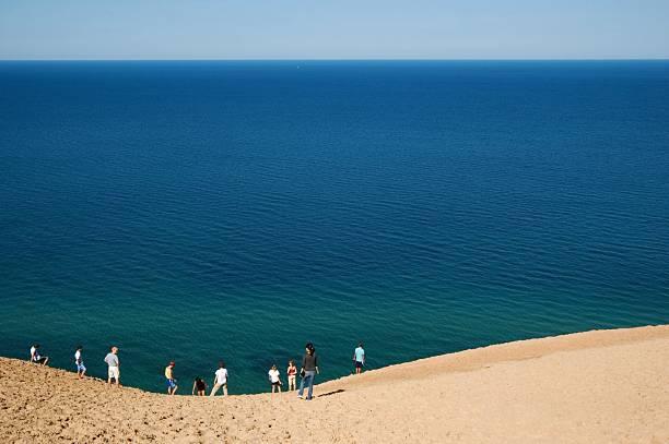 Lake Michigan Overlook at Sleeping Bear Dunes stock photo