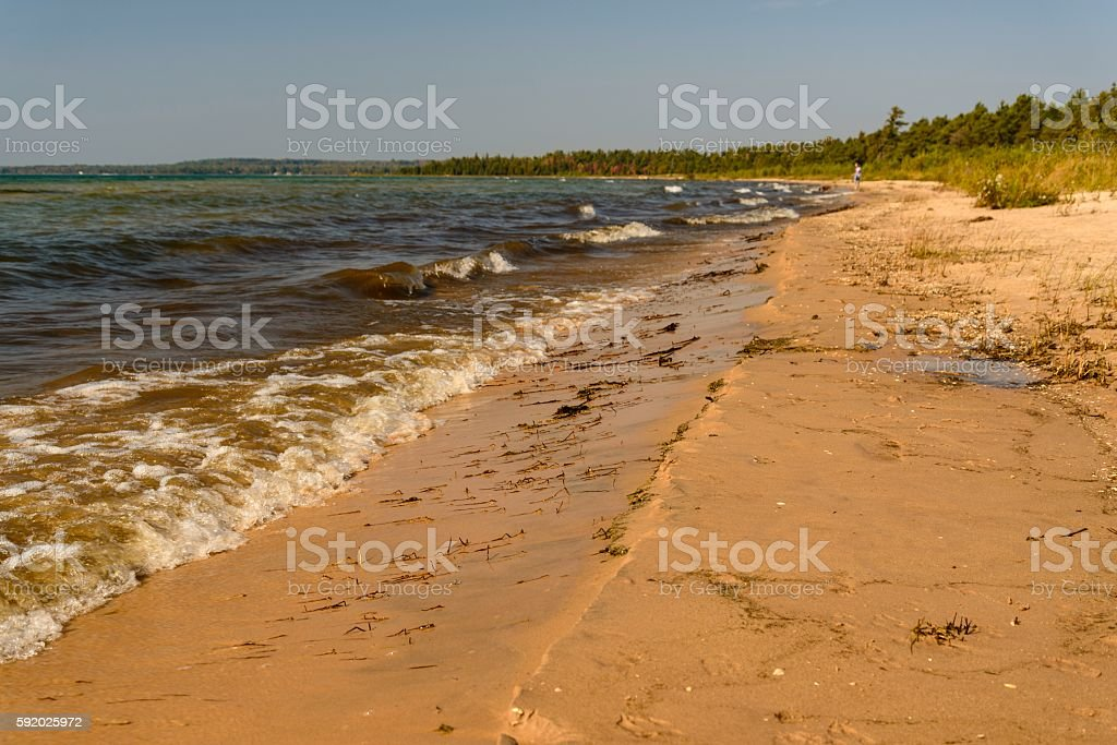 Lake Michigan Shore in Michigan's Upper Peninsula stock photo