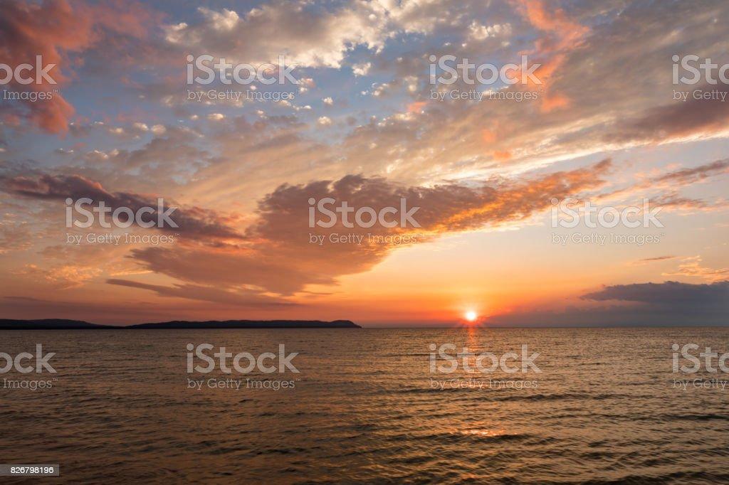 Lake Michigan Sunset stock photo